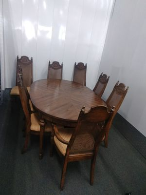 Antique Wood Dining table & 8 chairs for Sale in Durham, NC