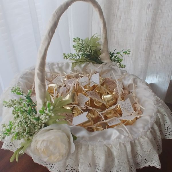 Basket To Hold Wedding Bells Or Bubbles