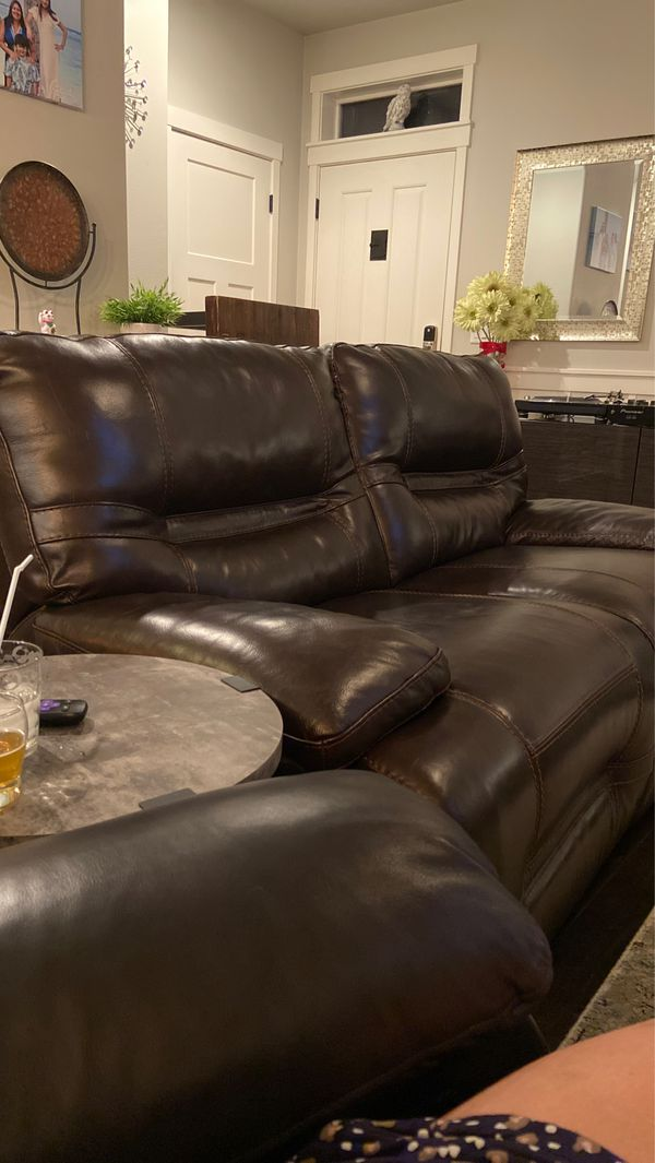EUC Brown Leather couch sofa recliner $150