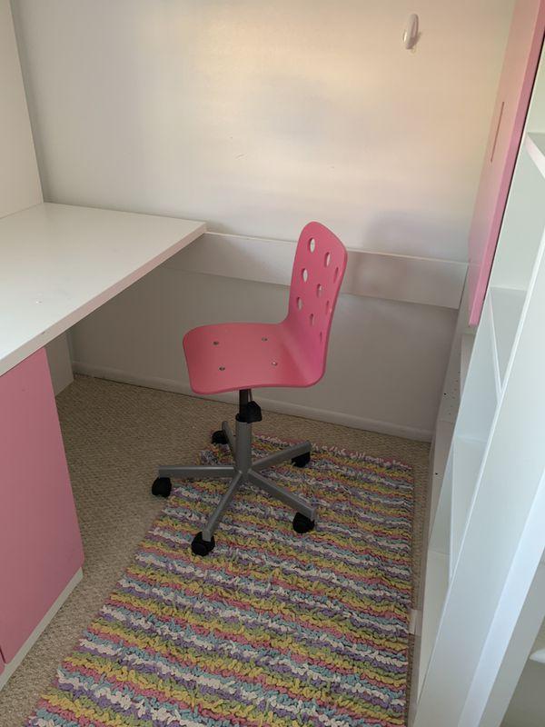 IKEA lofted twin bed/desk/bookshelf pink