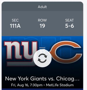 NY GIANTS Tickets Vs CHICAGO BEARS for Sale in Howell Township, NJ