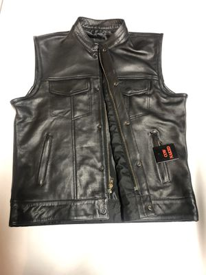 Men's Black Cow Naked Natural Premium qualityLeather Club style motorbike Vest (with gun pockets) for Sale in Woodbridge, VA