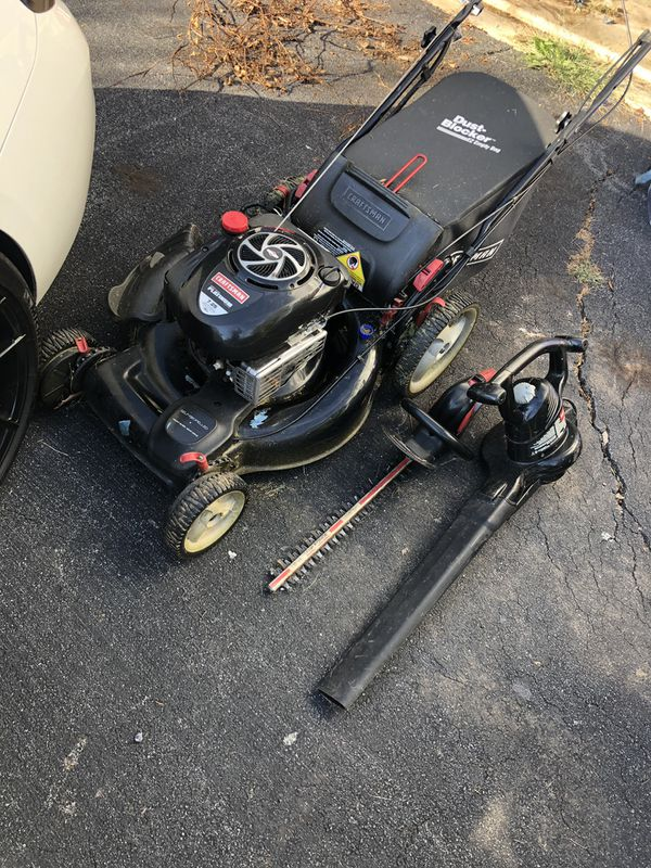 Craftsman mower, electric trimmer and leaf blower