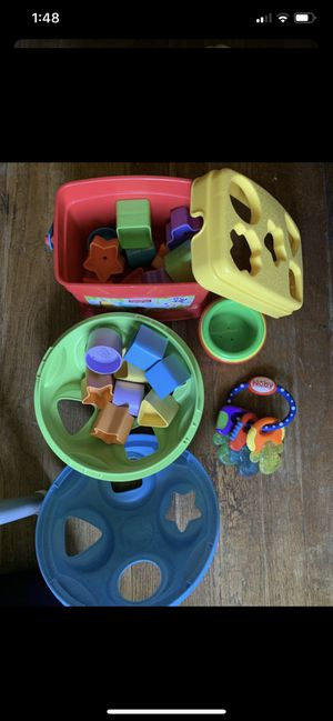 Baby toys ALL. SHAPES AND color learning. With freeze baby chew teething toy and stacking cups 0- 2 years old for Sale in Los Angeles, CA