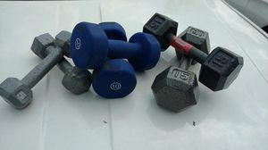 Set of 6 dumbbells 15 lb 10 lb 5 lbs for Sale in Columbus, OH