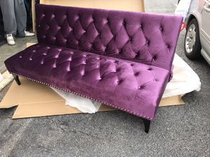 NEW-NO Offers please, Velvet Upholstery & Nailhead Trim futon/Sofa bed😍FIRM PRICE! for Sale in Raleigh, NC