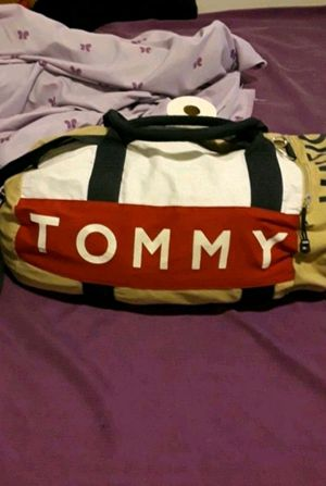 Tommy Hilfiger duffle bag backpack red white spell out blue for Sale in The Bronx, NY