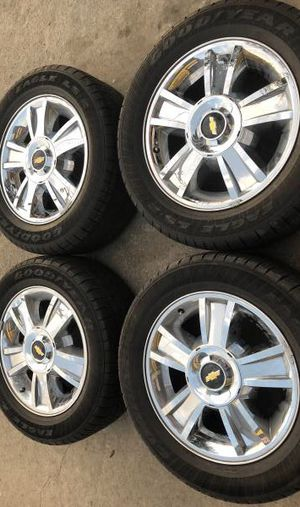 "20"" Chevy Texas Edition Rims and Tires 6 Lug Chrome Wheels Rines y llantas Chevrolet Silverado Tahoe Avalanche GMC Sierra Yukon Denali Cadillac Esca for Sale in Dallas, TX"