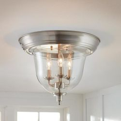 15 in. 3-Light Brushed Nickel Flush Mount with Clear Glass Shade by Home Decorators Collection NEW for Sale in Fort Lauderdale,  FL