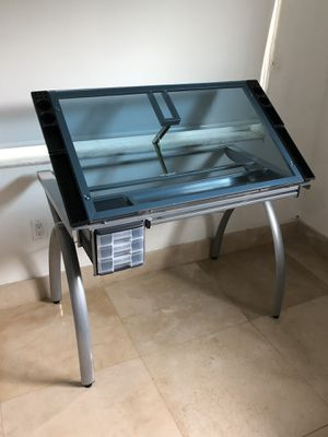 Modern Glass Top Adjustable Drafting Table Craft Table Drawing Desk Hobby Table Writing Desk Studio Desk for Sale in Miami Beach, FL