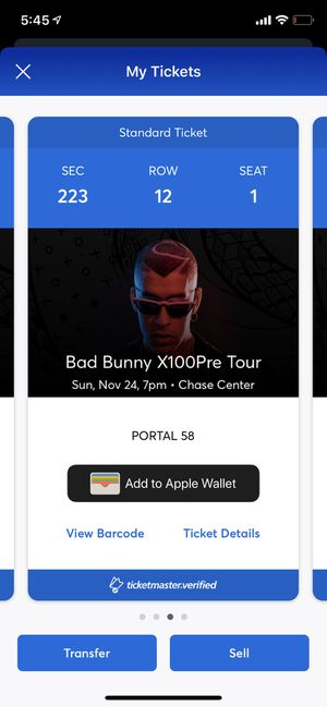 2 Bad bunny tickets chase center for Sale in Hayward, CA