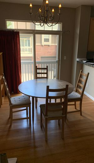 Round wood Kitchen table and 4 chairs for Sale in Denver, CO