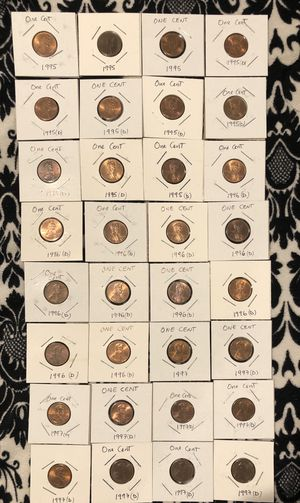 Lot 32 coins: One Cent 1995(3),1995 D( 8),1996D(12),1997,1997D(9) for Sale in Carson, CA