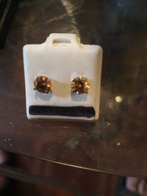 champagne diamond earrings !! for Sale in San Antonio, TX
