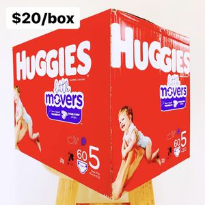 Size 5 (Over 27 lbs) Huggies Little Movers (60 baby diapers) for Sale in Garden Grove, CA