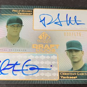 2004 Philip Hughes Christian Garcia SP Draft Duos Autographed Baseball Card 32/175 New York Yankees for Sale in Brea, CA