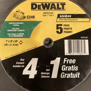 Dewalt 5 Pack Concrete/Masonry Cutting Wheels for Sale in Bellmore, NY