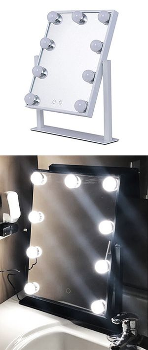 "New in box $50 Small Vanity Mirror w/ 9 Dimmable LED Light Bulbs Beauty Makeup 10x12"" (Black or White) for Sale in Downey, CA"