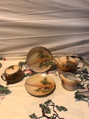 Antique hand painted Nippon tea/ coffee pot, covered sugar bowl, creamer and 6 sandwich/ salad bowl set. Added is 2 cups and 4 saucers free if wante for Sale in Baldwin, NY