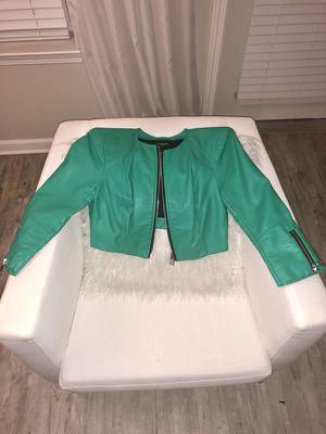 BEBE Green Faux Leather Crop Jacket for Sale in Atlanta, GA
