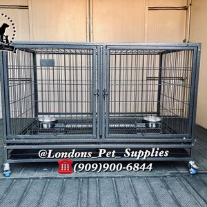 """NEW! 43"""" Heavy-Duty Dog Cage w/ Divider and Feeding Bowls (Kennel) (Crate) for Sale in Moreno Valley, CA"""