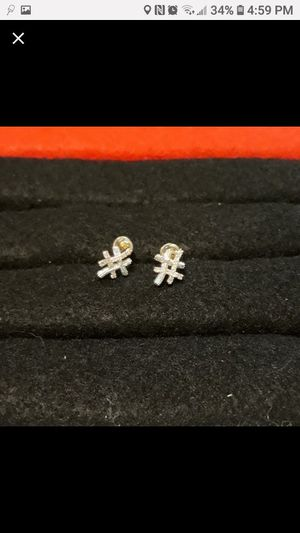 White gold plated and cz diamond # earrings. for Sale in Glen Burnie, MD