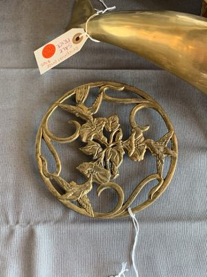 Solid Brass Vintage Hummingbird & Flowers Footed Trivet or Wall Art / Home Decor / Kitchen Trivet / Hot Plate Stand / Candle Holder for Sale in Peoria, AZ