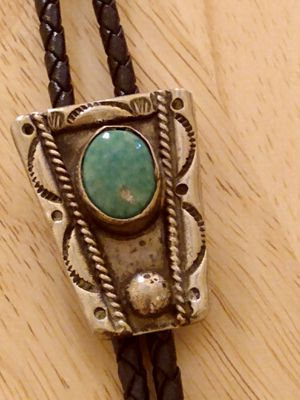 Antique beautiful Sterling silver and turquoise stone Bolo tie very old one. for Sale in Glendale, AZ