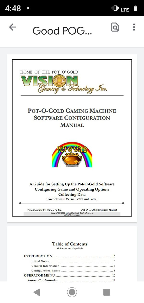 Liesure Time Technologies, Inc Pots O Gold T340+ 580 16 Games Gameboard