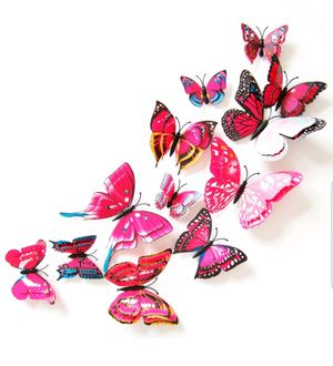 12pcs PINK 3D Bright Color Butterflies Home Office Wall Decor DIY 3D Stickers for Sale in Ontario, CA