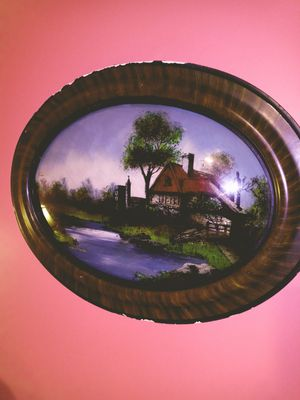 """A VERY OLD ANTIQUE BUBBLED GLASS PICTURE.ITS CALLED """"THE OLD HOMESTEAD.BEAUTIFUL... for Sale in Anderson, SC"""