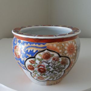 Hand Painted Asian Porcelain Fish Bowl Planter for Sale in New Castle, DE