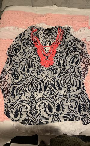 Sheer Navy Blue, Gray and Coral tunic Bathing suit cover up for Sale in Philadelphia, PA