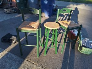 2green WOODEN bar stools and one green METAL bar stool (selling as a set) for Sale in Puyallup, WA
