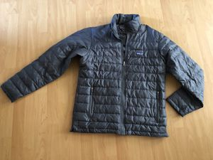 Mens gray Patagonia goose down filled puffy jacket size medium for Sale in Redondo Beach, CA