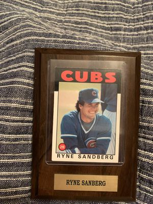 1985 4\6 Ryne Sanberg Topps Baseball Card Plaque for Sale in Schaumburg, IL