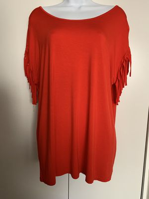 Fringed Sleeve Red Top- Comfy and Cute! Size XL for Sale in Sandy, OR