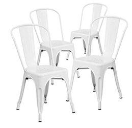 BRAND NEW  Flash Furniture Metal Indoor-Outdoor Chair, 4 Pack, White  Brand: Flash Furniture Model: 4CH31230WH for Sale in Marietta, GA