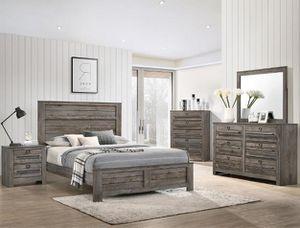 Bedroom set Queen bed +Nightstand +Dresser +Mirror. Mattress not included for Sale in Bell Gardens, CA