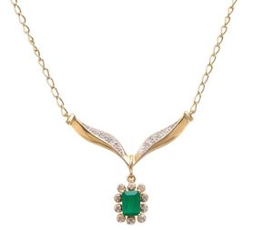 18K Yellow Gold Over Sterling Silver Emerald and Diamond 17 Inch Designer Necklace for Sale in Concord, MA