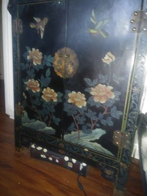 Antique Chinese black lacquered cabinet for Sale in Kingsport, TN