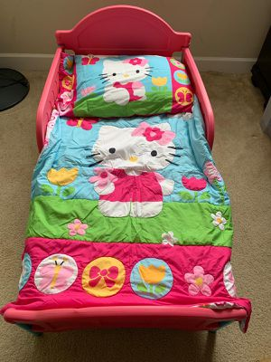 Toddler Bed with mattress and hello kitty comforter for Sale in Alexandria, VA