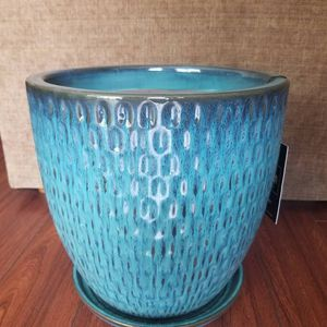 "12"" teal ceramic flower pot with saucer for Sale in Hacienda Heights, CA"