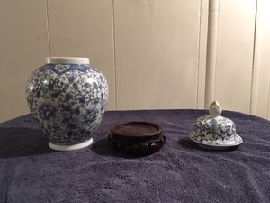 Blue and White Ginger Jar with Wooden Base for Sale in Largo, FL