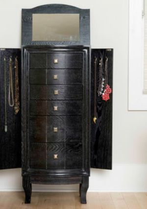 New!! Armoire, cabinet, 2 door6 drawer and a mirror jewelry cabinet, storage unit, jewelry organizer, jewelry armoire, black for Sale in Phoenix, AZ