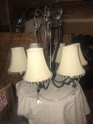 Beautiful six light dining table chandelier with hanging crystals. Remodeling sale for Sale in Bowie, MD