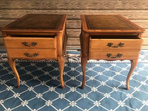 Two nightstands antique, top leather for Sale in Alhambra, CA