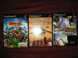 Dragon Quest VIII Journey of the Cursed King, Star Wars the Clone Wars, Hard Hitter Tennis PS2 PlayStation 2 for Sale in Everett, WA