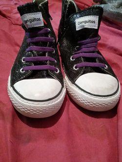 Black Glitter European. Kids Shoes For Girls Sz 7 for Sale in Austin,  TX