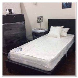 Brand new twin bed frame chest and 1 nightstand no mattress for Sale in Miami, FL